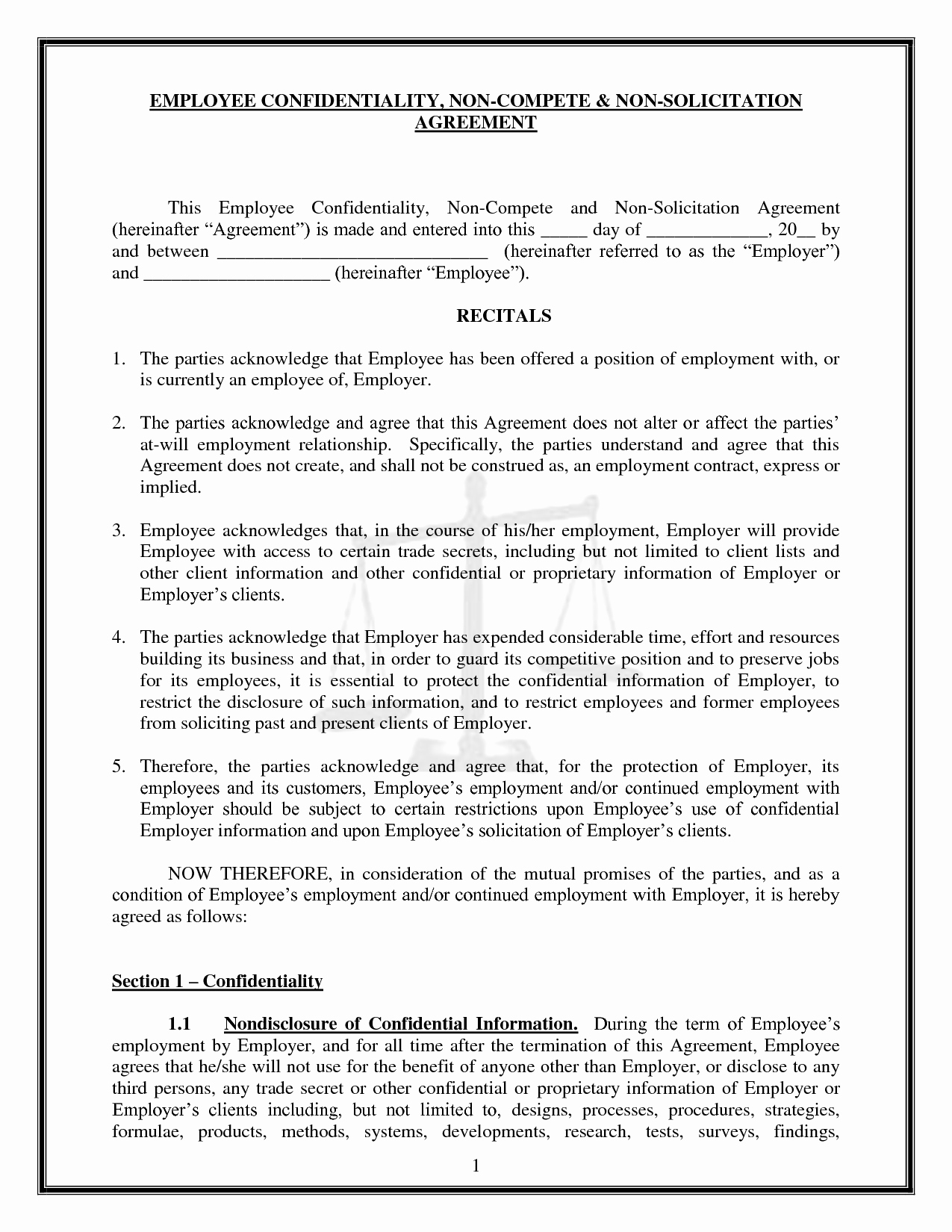 Employee Non Compete Agreement Template Inspirational Best Of Intended For Free Non Compete Agreement Template