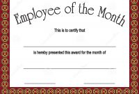 Employee Of The Month Award With Stock Vector  Illustration Of throughout Employee Of The Month Certificate Templates