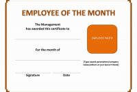 Employee Of The Month Certificate in Employee Of The Year Certificate Template Free