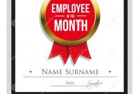 Employee Of The Month Certificate Template Stock Vector throughout Employee Of The Month Certificate Template With Picture
