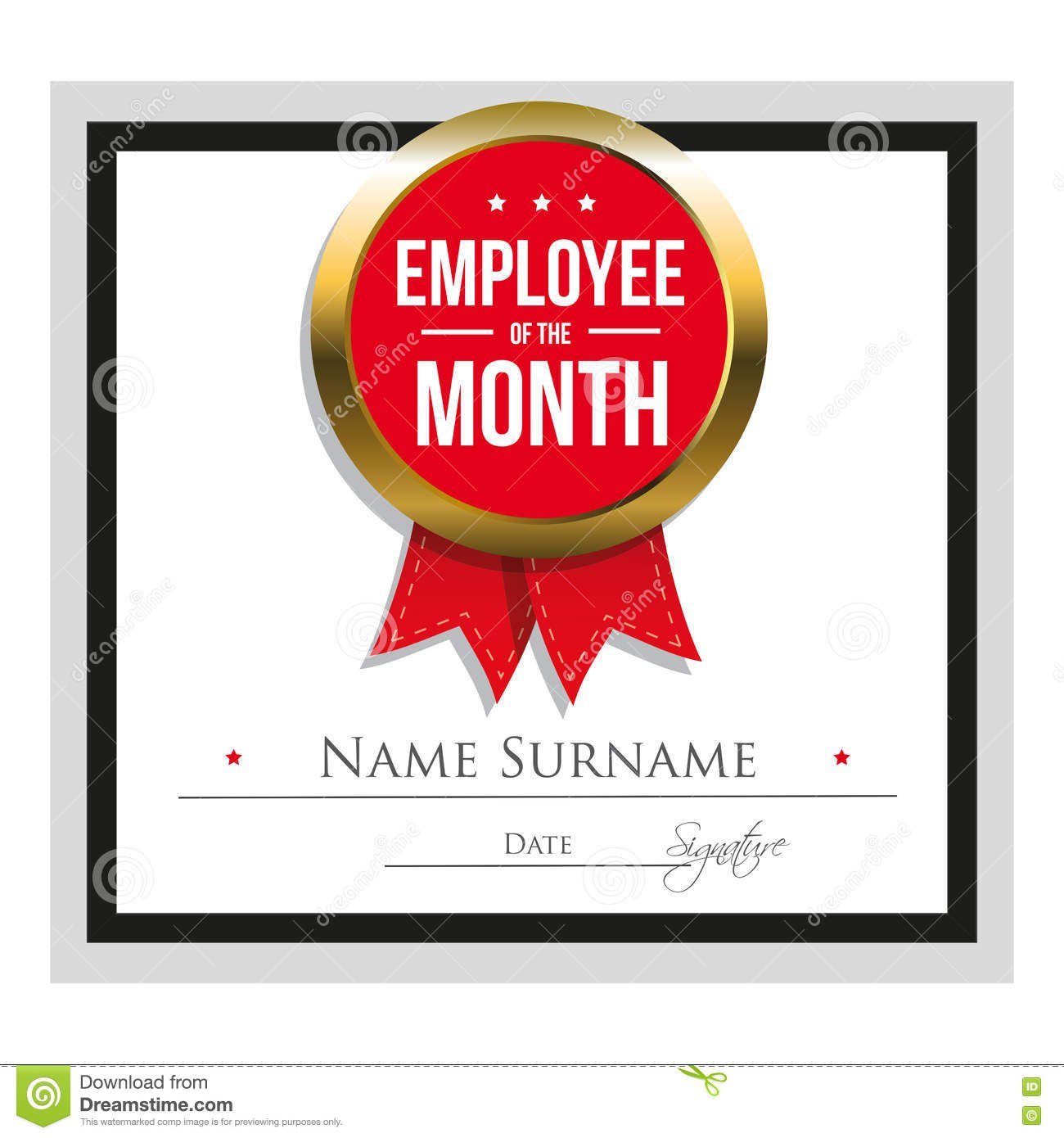Employee Of The Month Certificate Template Stock Vector With Employee Of The Month Certificate Template