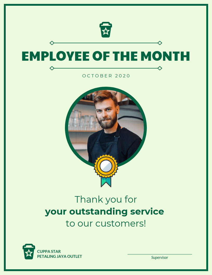 Employee Of The Month Certificate Template Template  Venngage Inside Employee Of The Month Certificate Template