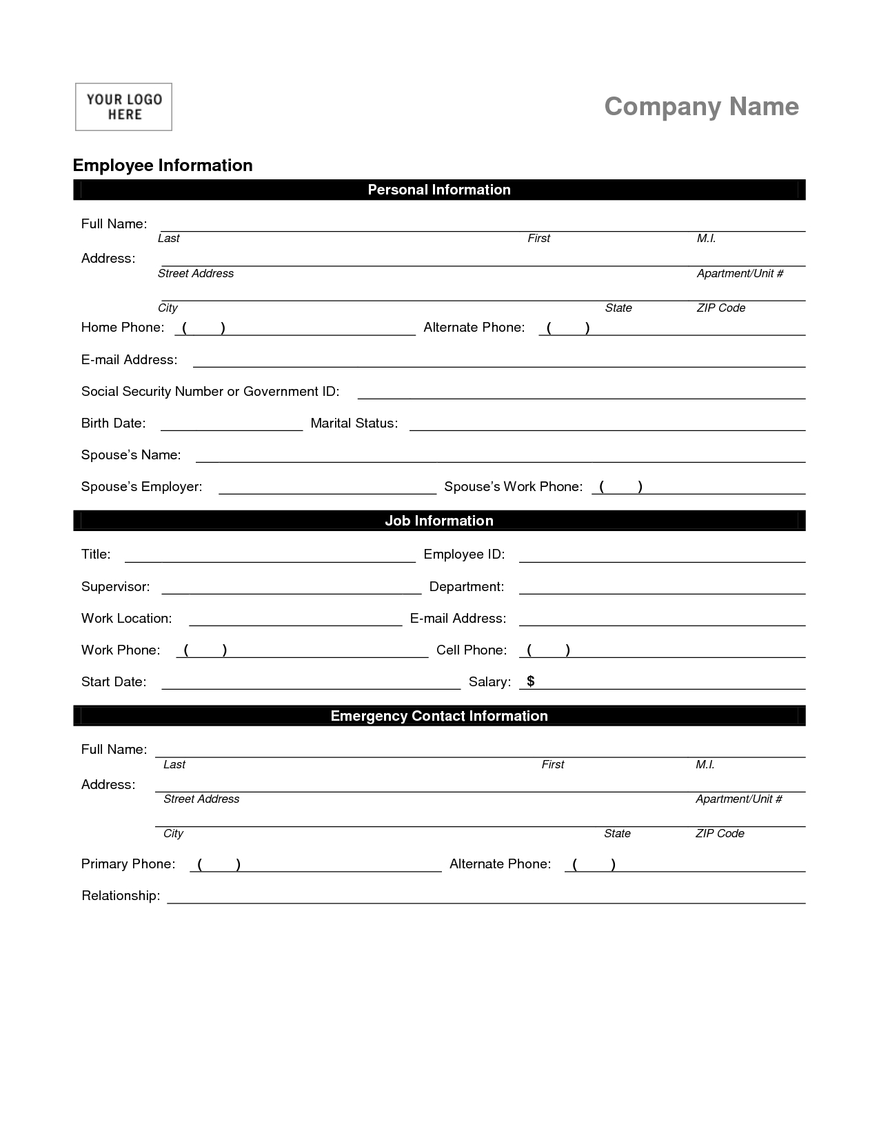 Employee Personal Information Form Template  Employee  Employment Within Business Information Form Template