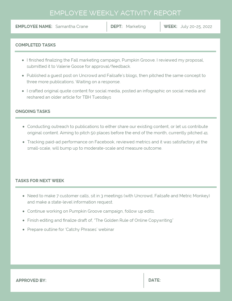 Employee Weekly Activity Report Template  Venngage With Marketing Weekly Report Template