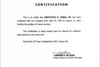 Employment Certificate Sample Best Templates Pinterest intended for Share Certificate Template Australia