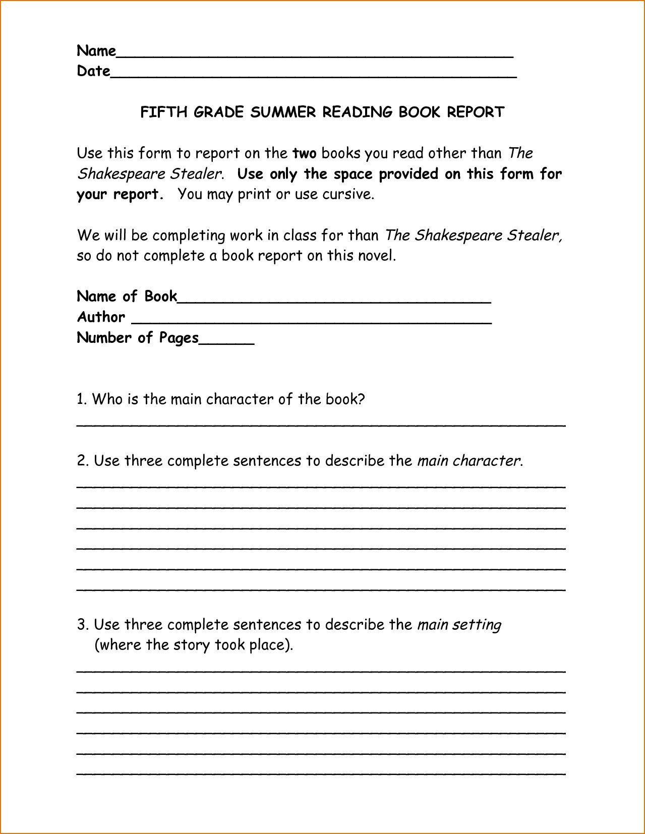 Englishlinx Com Ook Report Worksheets Template Th Grade Non Fiction Within Book Report Template Grade 1