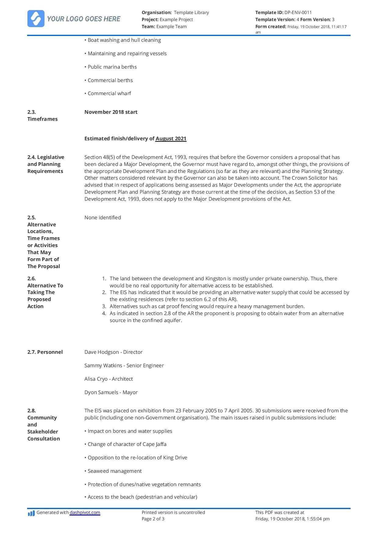 Environmental Impact Assessment Report Template  Use It Free With Environmental Impact Report Template