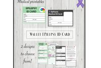 Epilepsy Medical Alert Id Card Pocket Wallet Id School Form  Etsy intended for Medical Alert Wallet Card Template