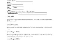 Equine Lease Agreement  Fill Online Printable Fillable Blank pertaining to Stallion Breeding Contract Templates
