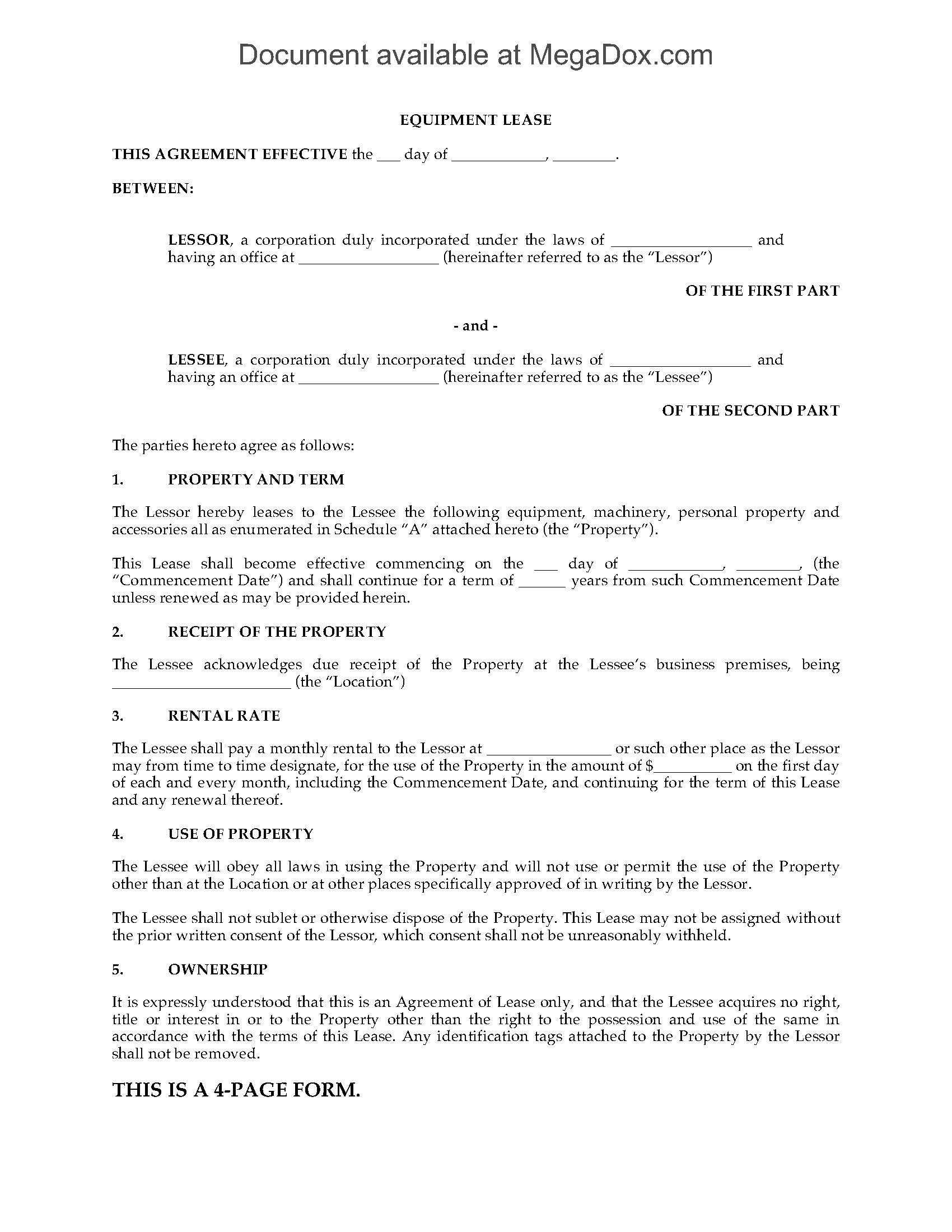 Equipment Lease Agreement With Purchase Option  Legal Forms And With Regard To Screenplay Option Agreement Template