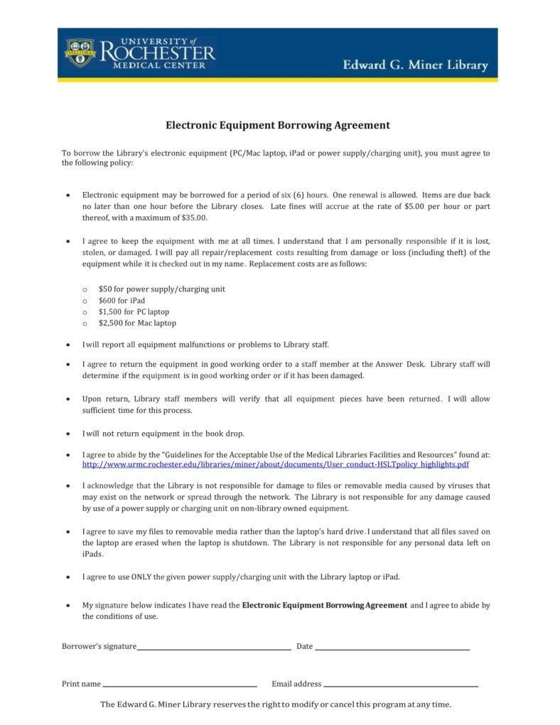 Equipment Loan Agreement Templates  Pdf Word  Free  Premium For Laptop Loan Agreement Template