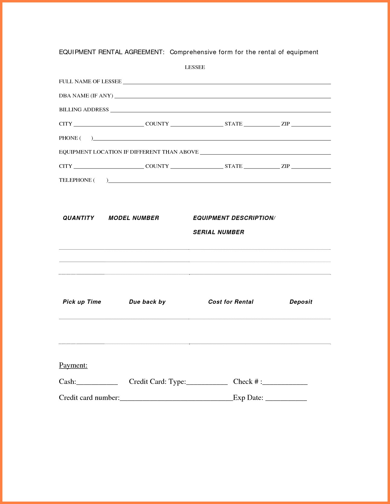 Equipment Rental Agreement Form Template Then Simple Contract Inside Music Equipment Rental Agreement Template