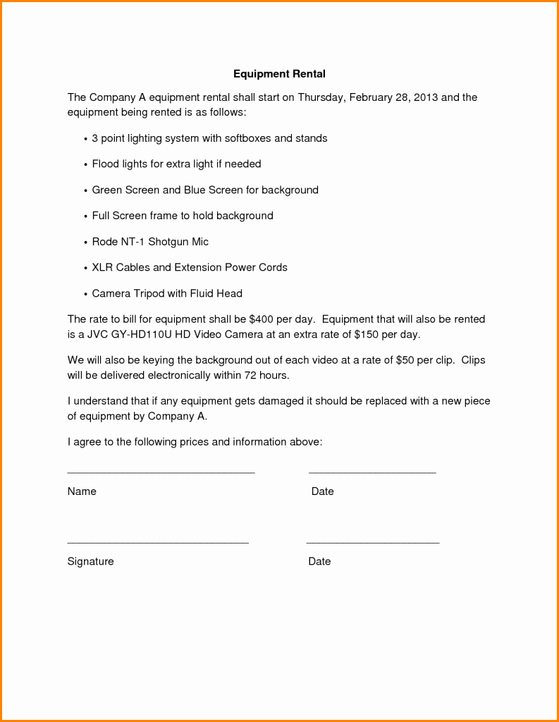 Equipment Rental Agreement Form Template Then Simple Contract Inside Party Equipment Rental Agreement Template