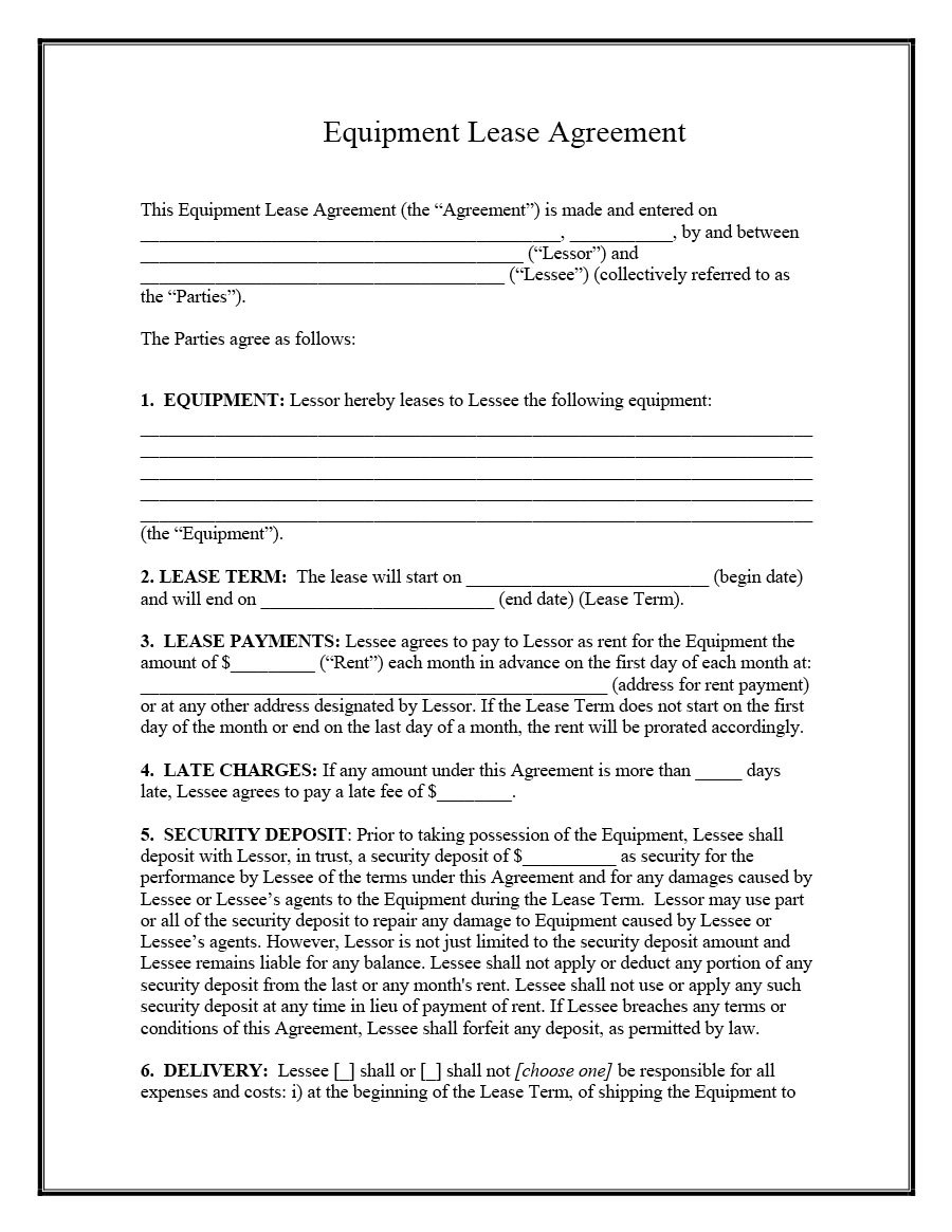 Equipment Rental Contract Template Ideas Lease Agreement Intended For Party Equipment Rental Agreement Template