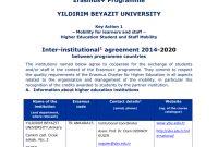Erasmus Bilateral Agreement  Yıldırım Beyazıt Üniversitesi pertaining to Erasmus Bilateral Agreement Template