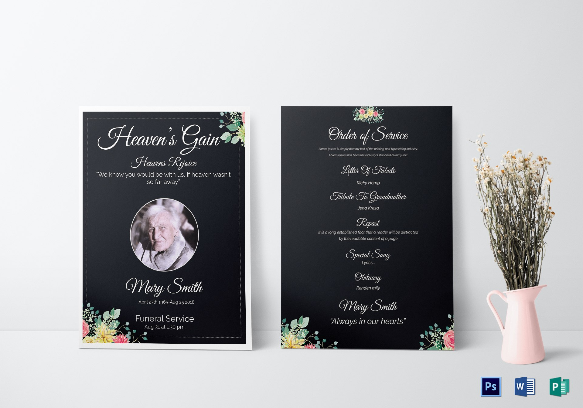 Eulogy Funeral Invitation Card Design Template In Word Psd Publisher Throughout Funeral Invitation Card Template