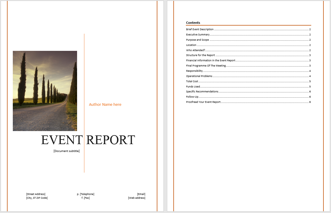 Event Report Template  Microsoft Word Templates For Word Document Report Templates