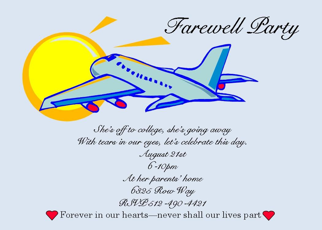 Example Invitation Card Farewell Party  Invitation Templates Free Throughout Farewell Card Template Word
