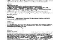 Example Join Venture Agreement Template  Joint Venture Agreement throughout Joint Account Agreement Template
