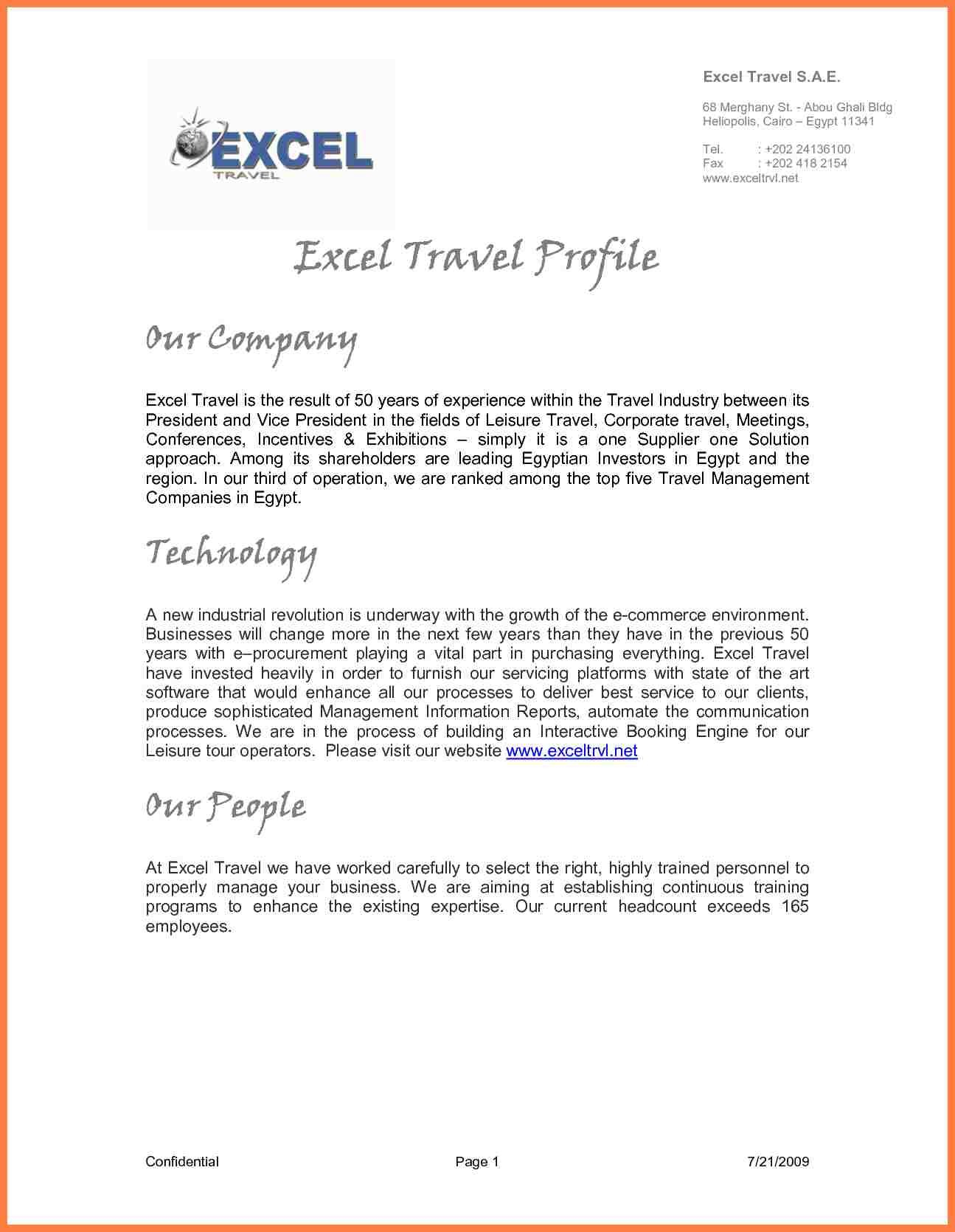 Example Of Company Profile Template  Company Letterhead Within How To Write Business Profile Template