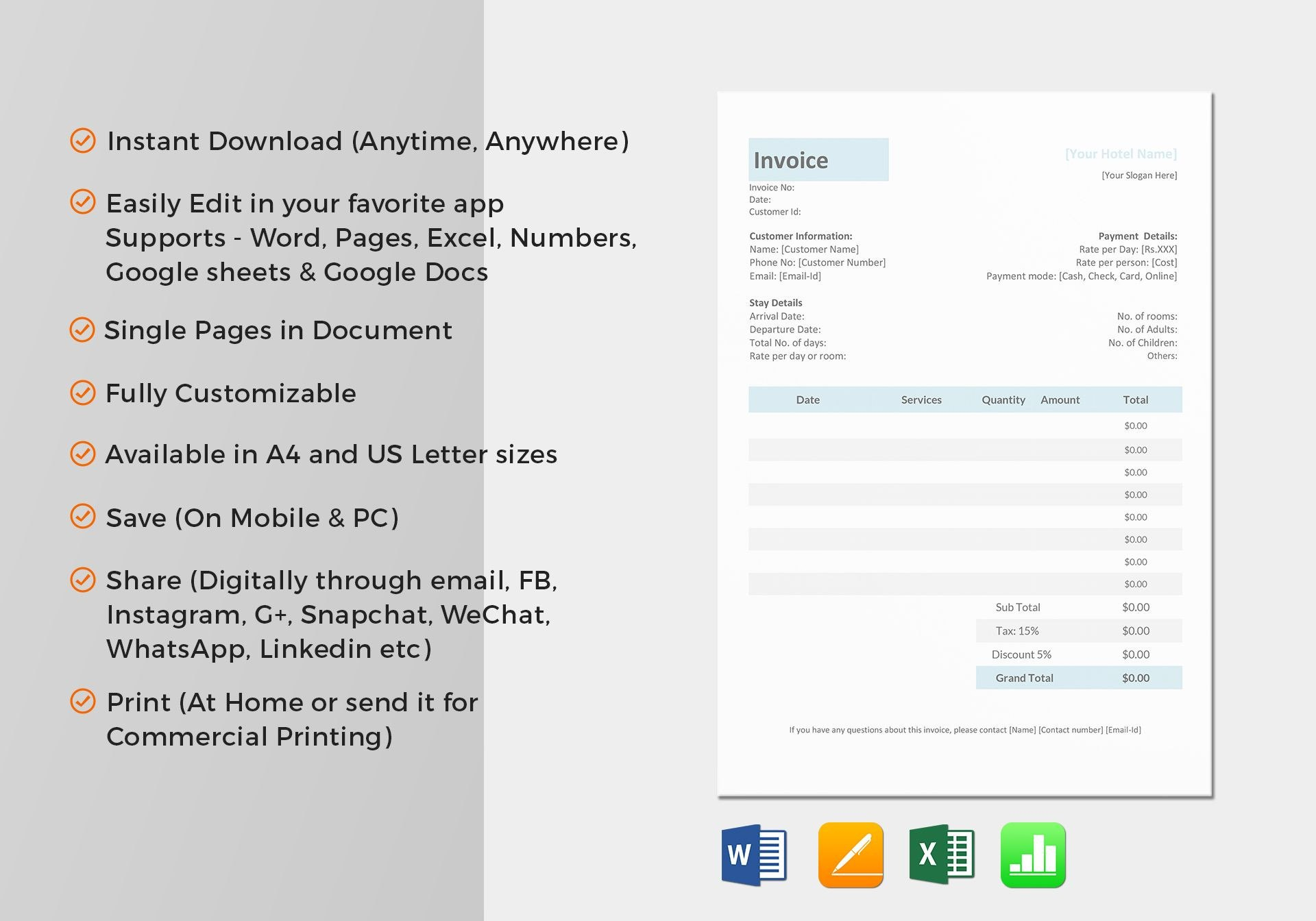 Excel Auf Ipad Von Hotel Invoice Template In Word Excel Apple Pages With Ipad Invoice Template