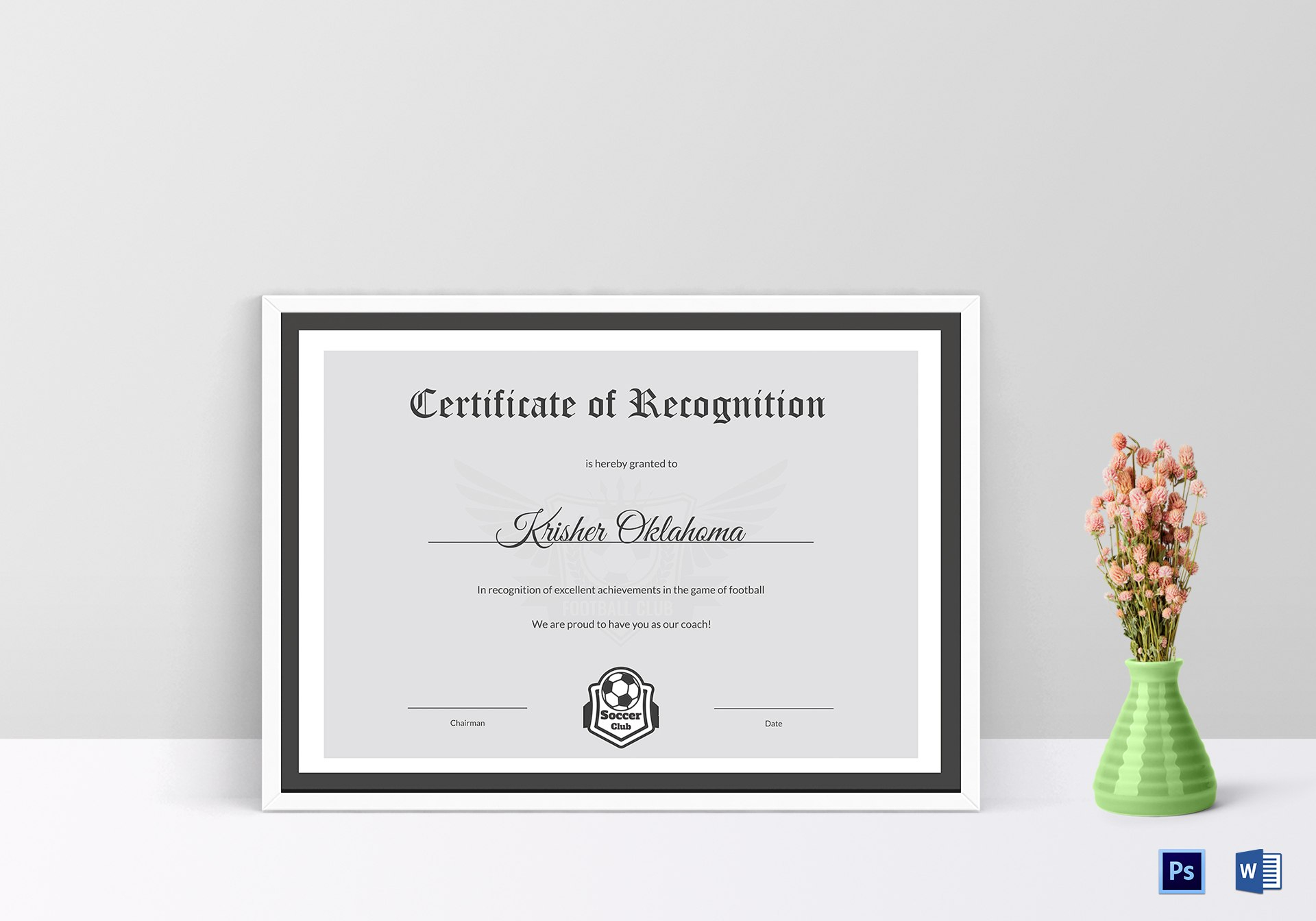 Excellent Coach Football Certificate Design Template In Psd Word Pertaining To Football Certificate Template