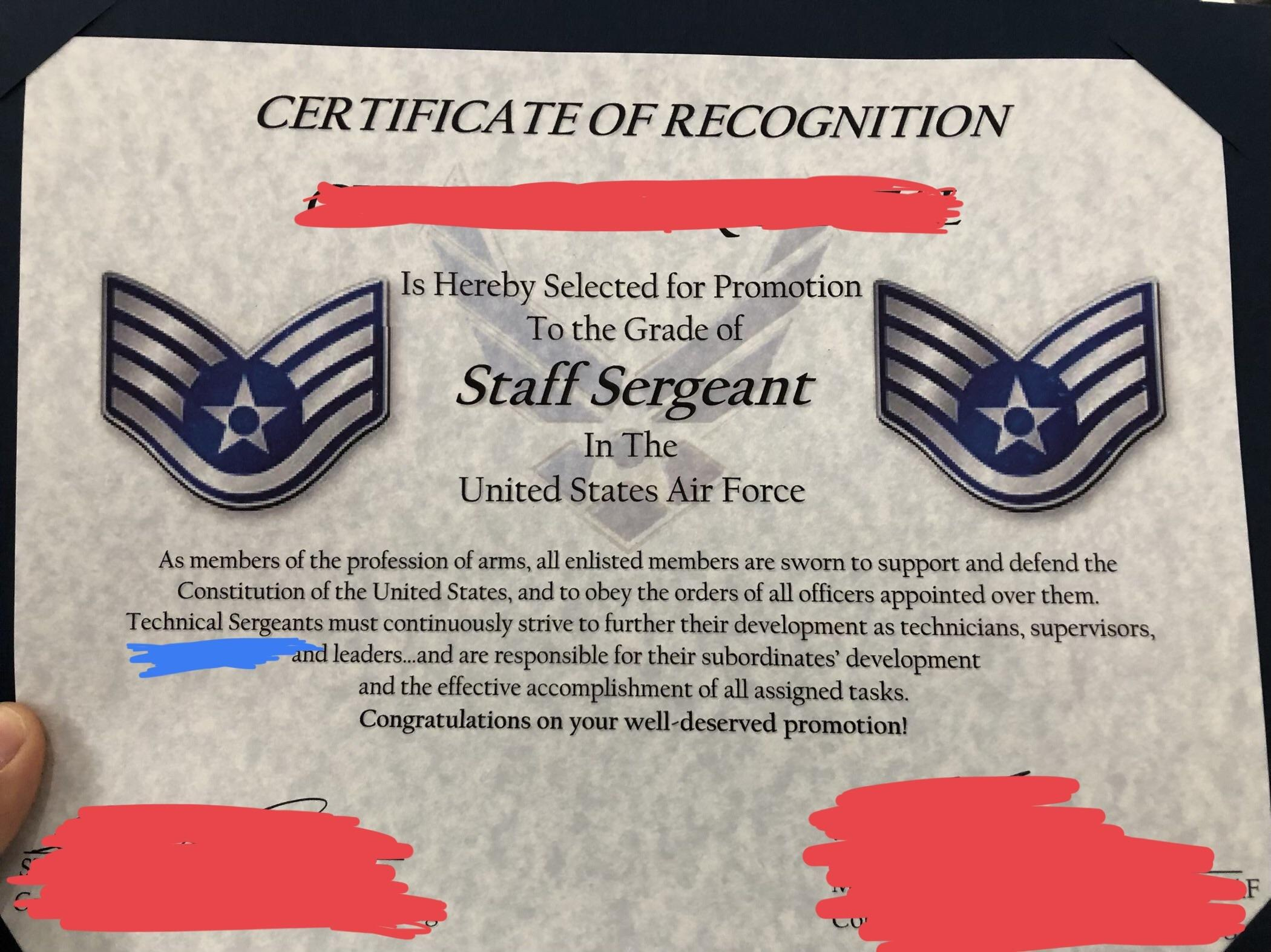 Excited For My Promotion To Sta— Uhh  Airforce Inside Officer Promotion Certificate Template