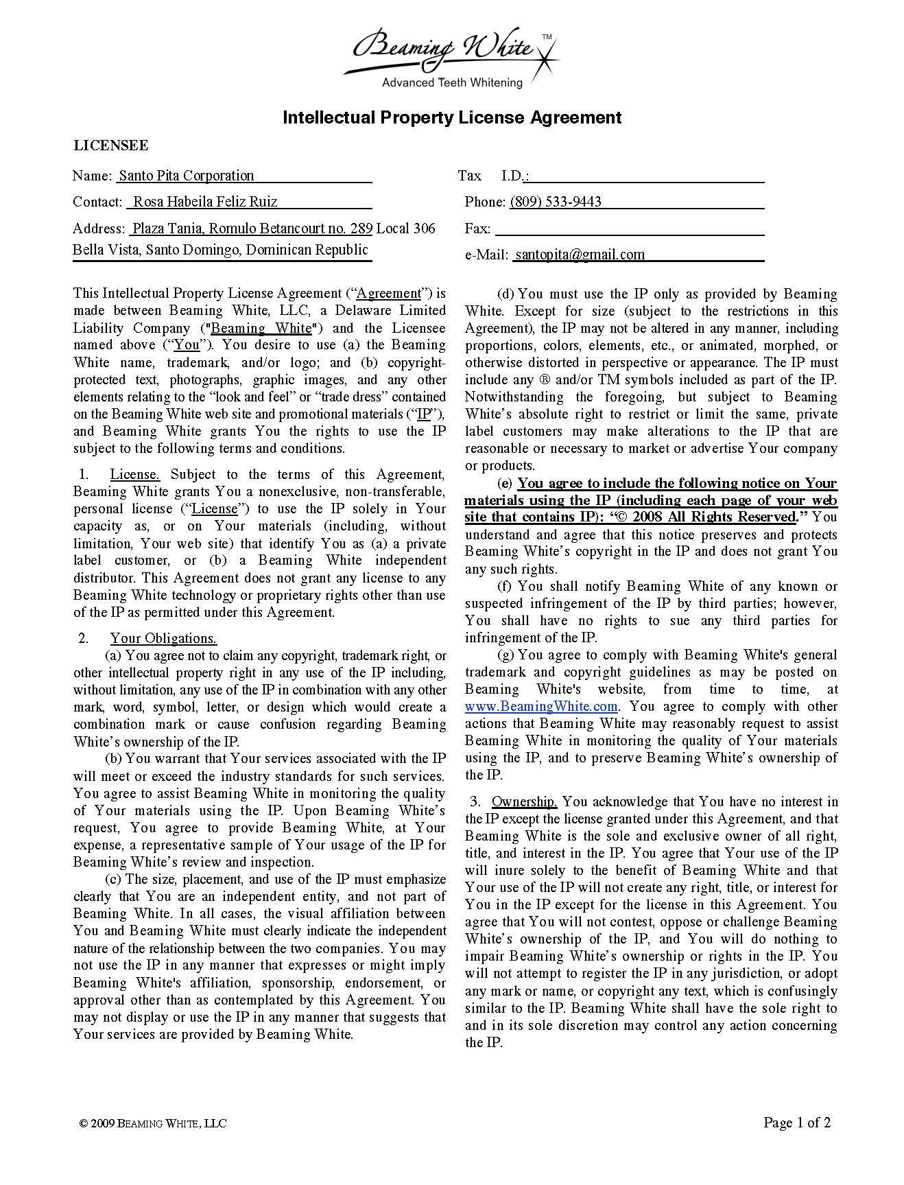 Exhibit   Intellectual Property License Agreement With Intellectual Property License Agreement Template