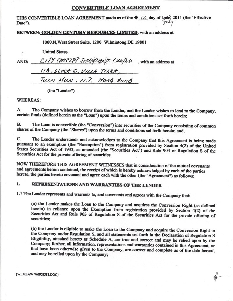 Exhtm Pertaining To Convertible Loan Agreement Template