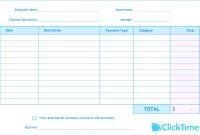 Expense Report Template  Track Expenses Easily In Excel  Clicktime within Company Expense Report Template