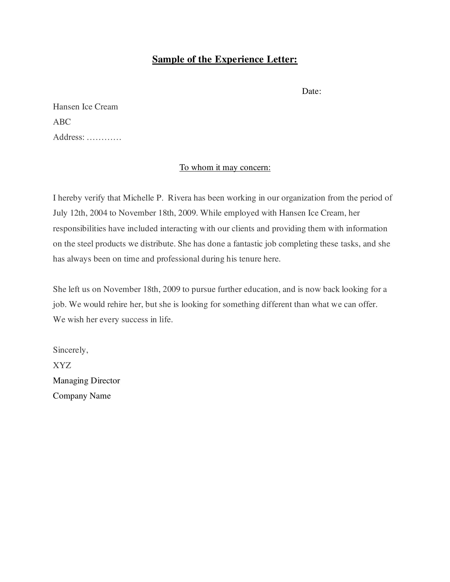Experience Letter Templates In Pdf  Free  Premium Templates With Regard To Template Of Experience Certificate