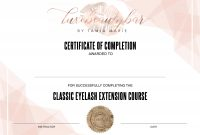 Eyelash Extension Certificate  Editable Template  Designs inside Love Certificate Templates