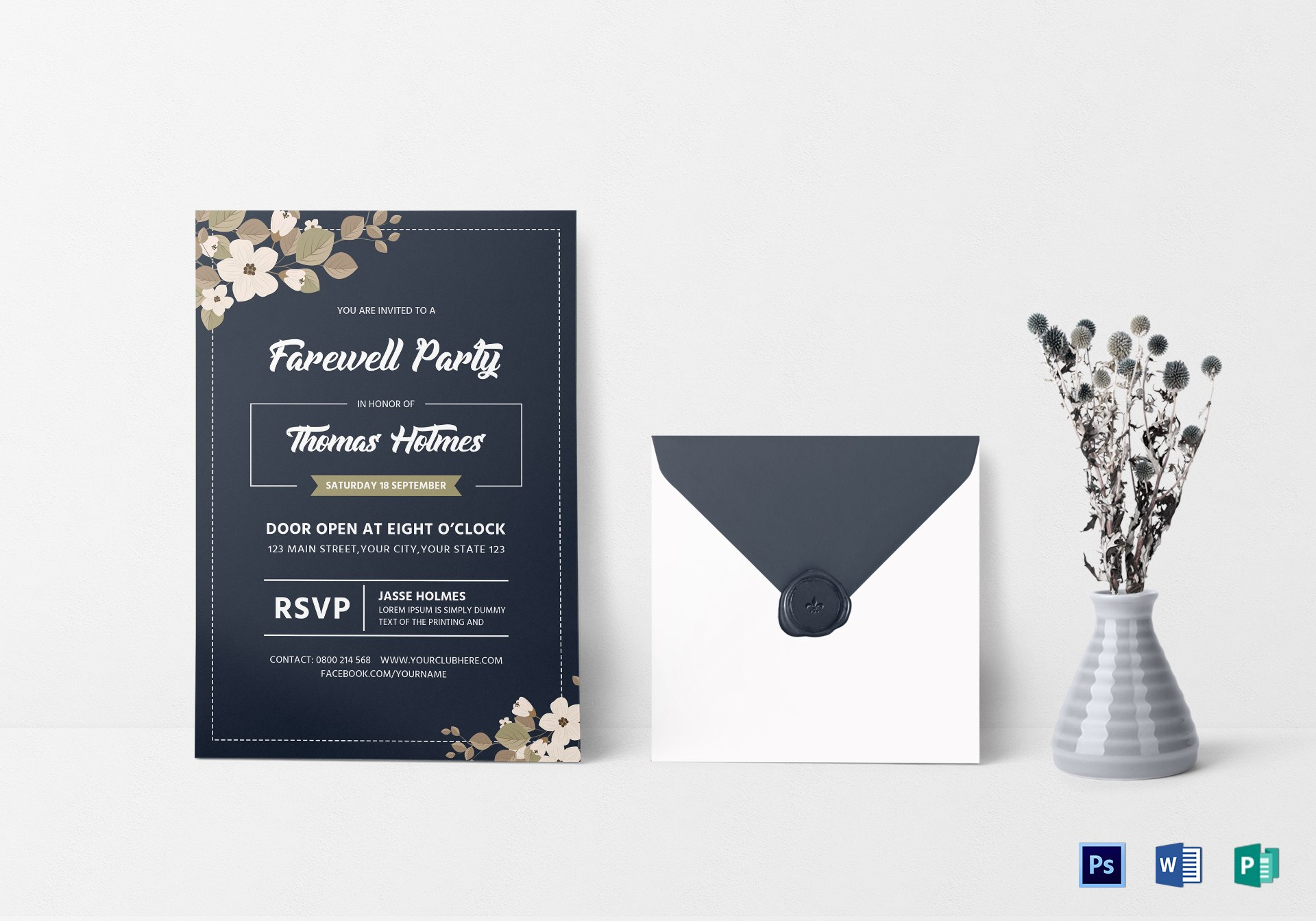 Farewell Party Invitation Card Design Template In Word Psd Publisher Regarding Farewell Invitation Card Template