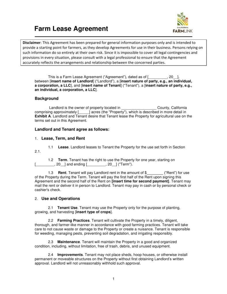 Farm Lease Agreement Templates  Pdf Word  Free  Premium Templates Within Farm Business Tenancy Template