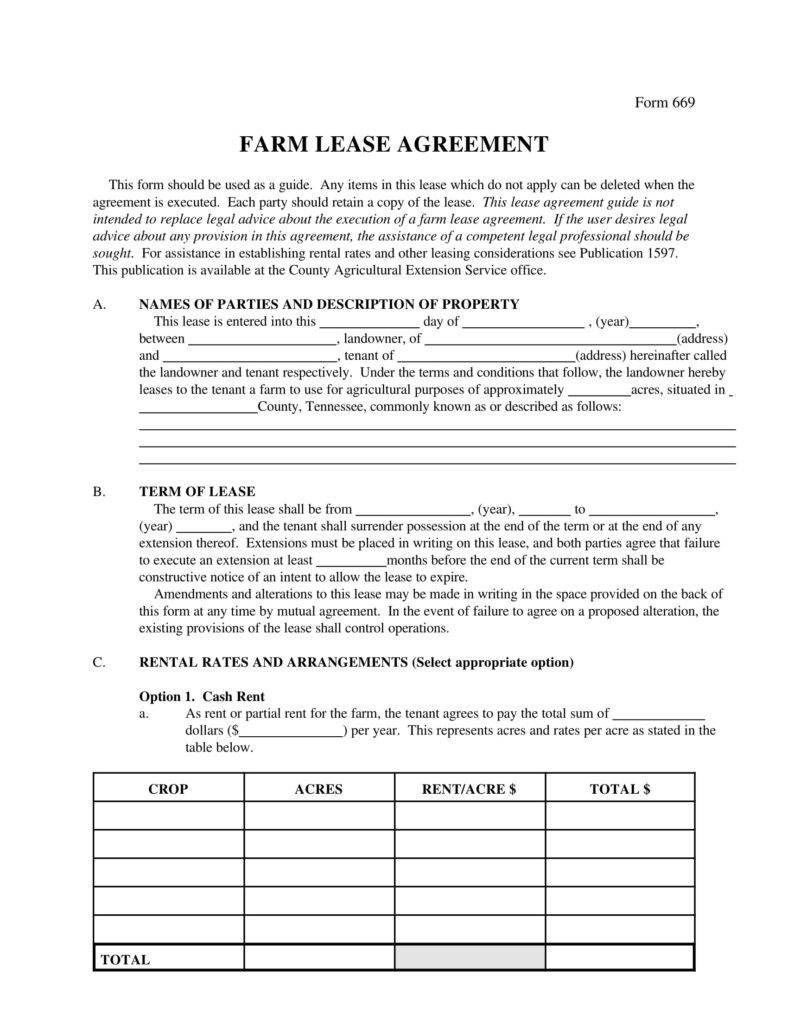 Farm Lease Agreement Templates  Pdf Word  Free  Premium With Farm Business Tenancy Template