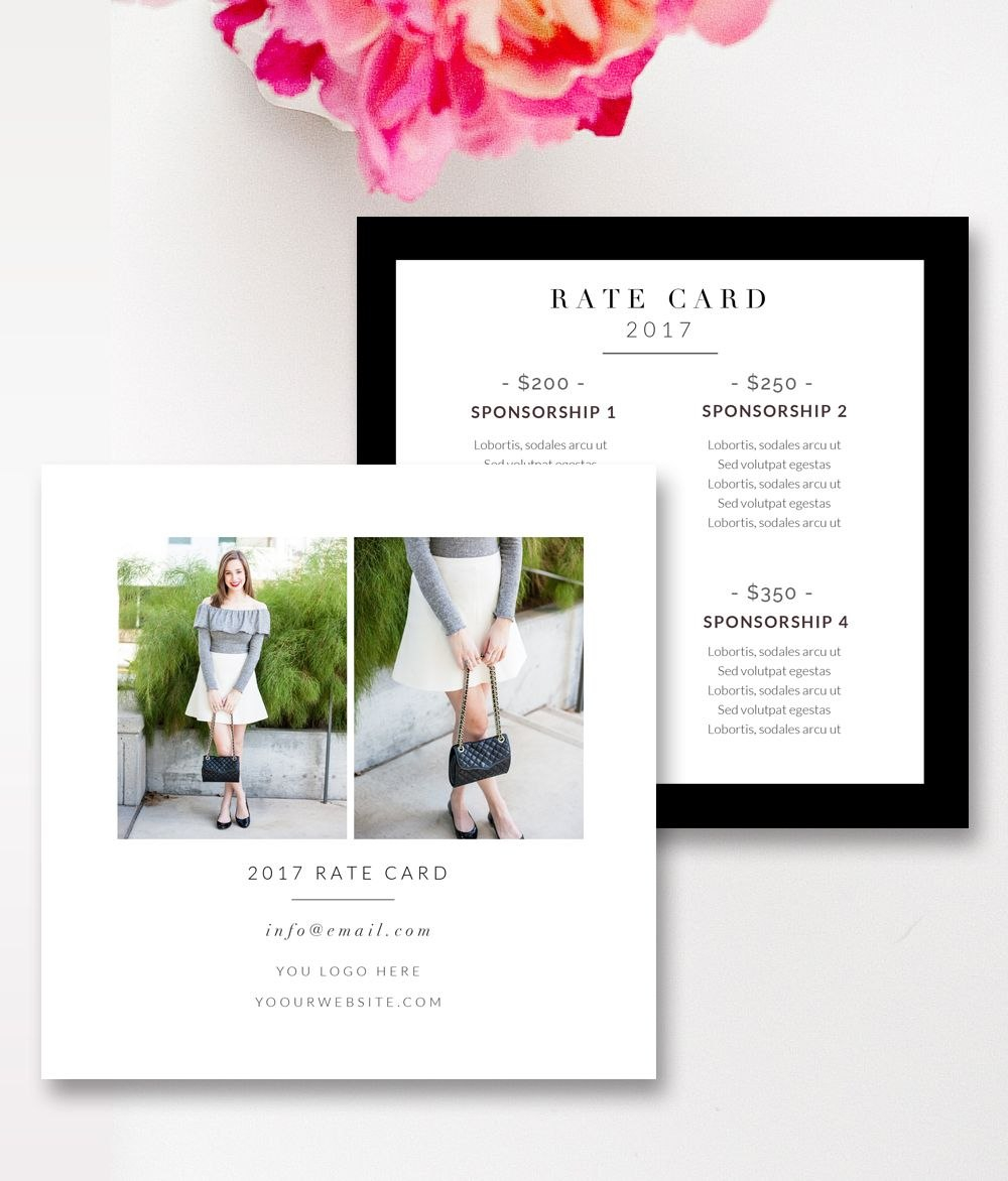 Fashion  Beauty Blogger Rate Card Template Stephanie Design With Regard To Rate Card Template Word