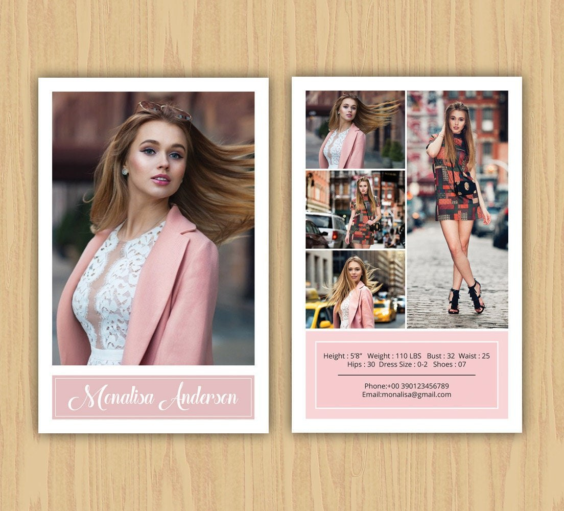Fashion Model Comp Card Template Modeling Comp Card Ms  Etsy Intended For Download Comp Card Template
