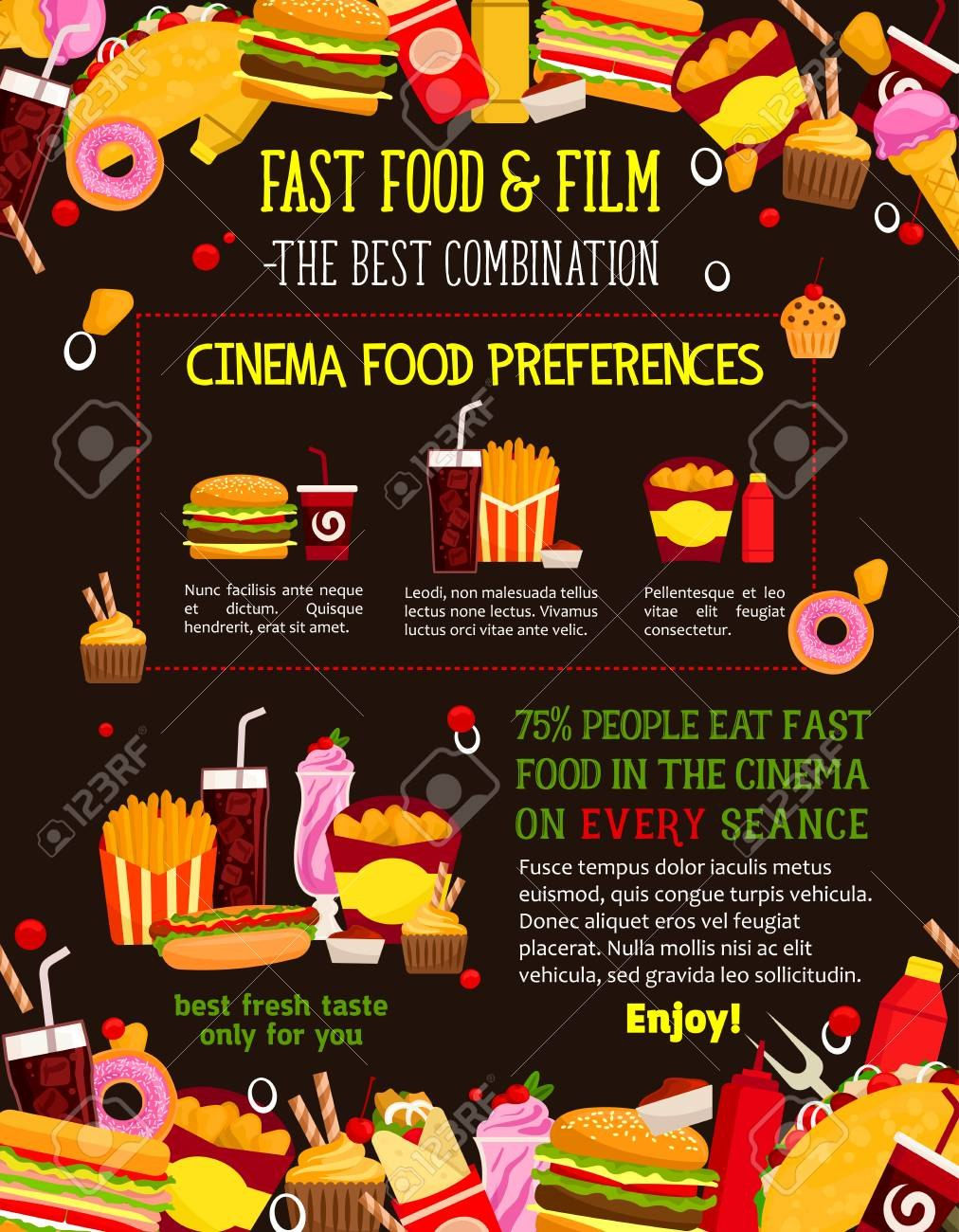 Fast Food Menu Design Template For Cinema Bistro Or Movie Theater Pertaining To Fast Food Menu Design Templates