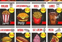 Fast Food Restaurant Menu Board Template Design Vector Image in Fast Food Menu Design Templates