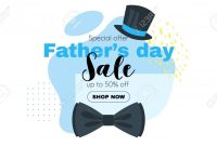 Father Day Sale Banner Template With Bow Tie And Top Hat Vector intended for Tie Banner Template