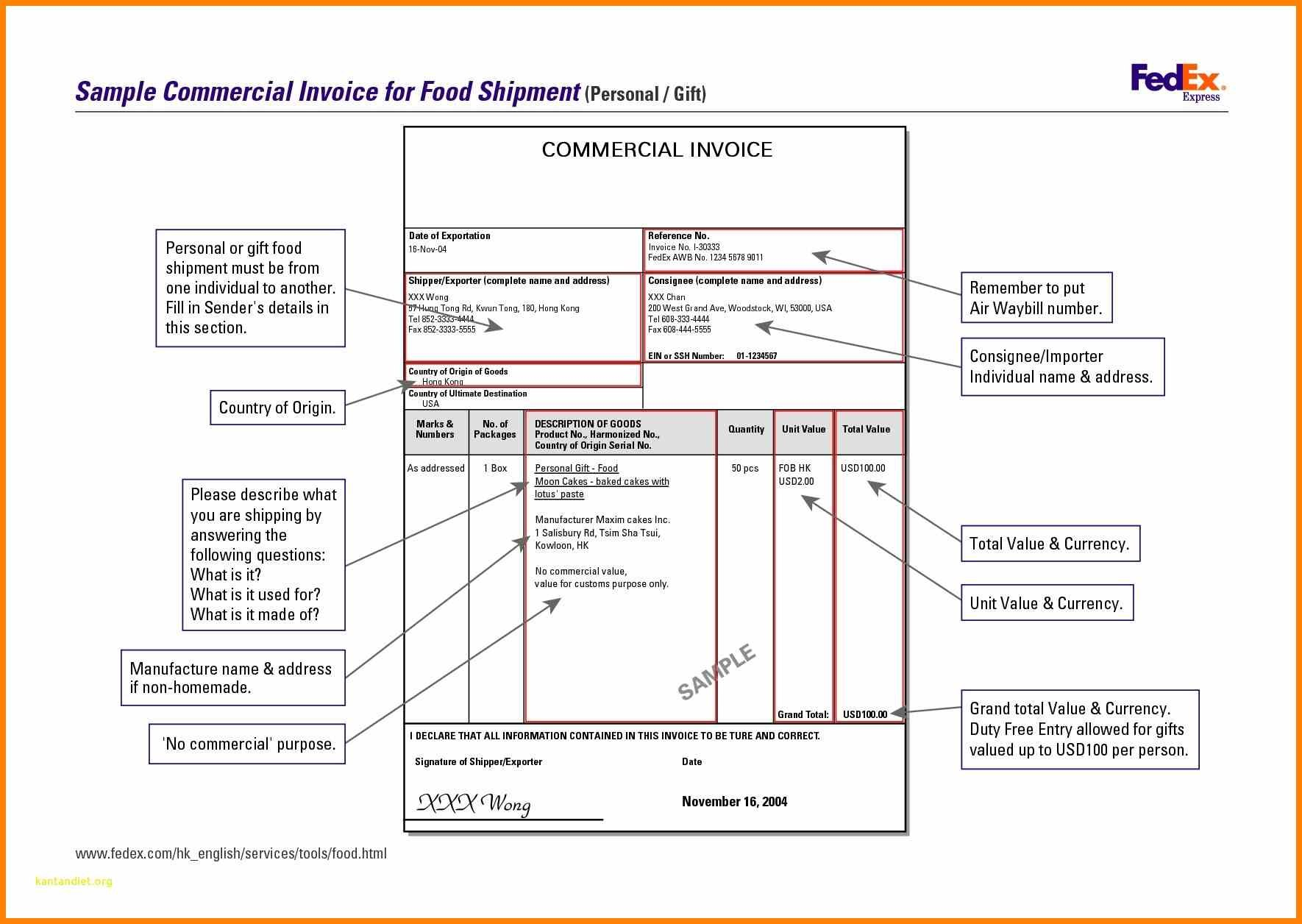 Fedex Commercial Invoice Sample Commercialpro Forma Form Canada In Proforma Invoice Template Fedex