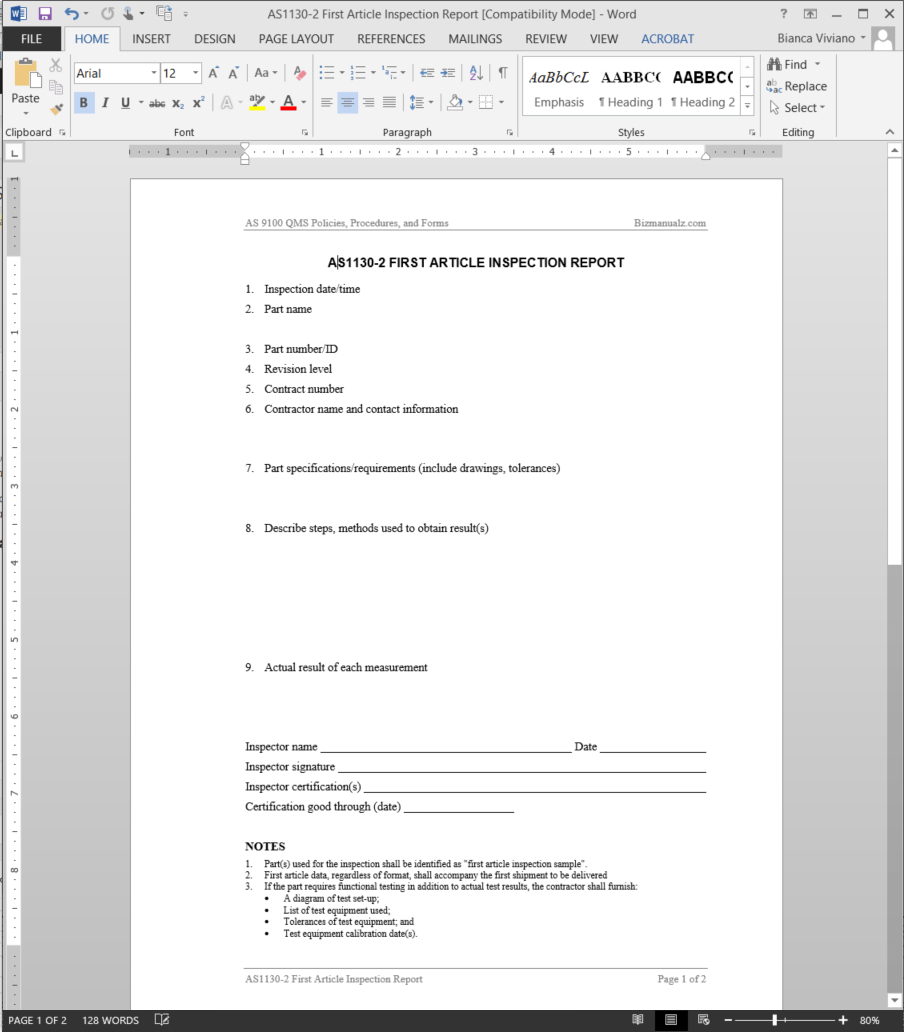 First Article Inspection Report As Template  As For Part Inspection Report Template