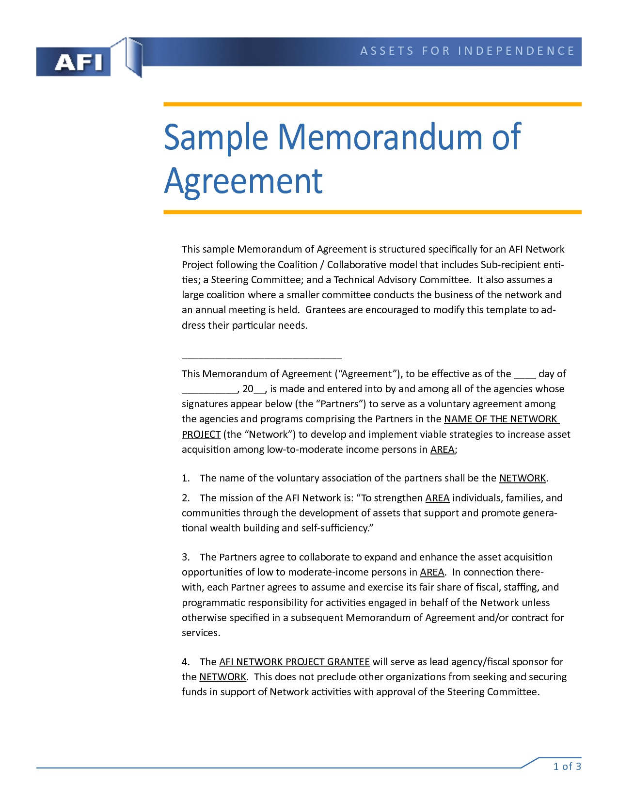 Fiscal Sponsorship Agreement Sample Colorado Trust  Mandegar Pertaining To Fiscal Sponsorship Agreement Template