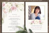Floral Funeral Invitation Funeral Announcement Card Celebration Of pertaining to Funeral Invitation Card Template