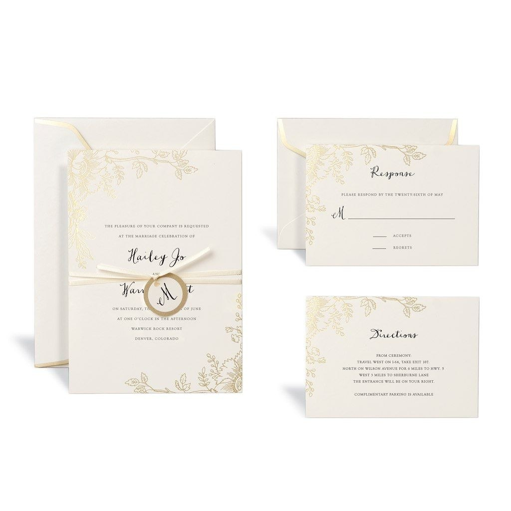 Floral Gold Wedding Invitation Kitcelebrate It™  Wedding Ideas Pertaining To Celebrate It Templates Place Cards