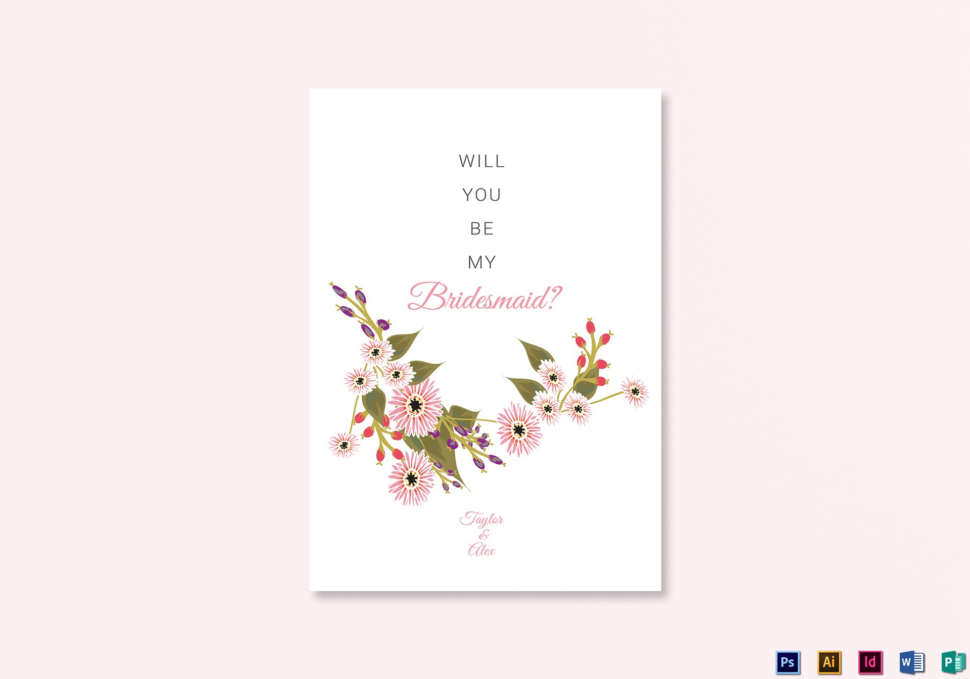 Floral Will You Be My Bridesmaid Card Design Template In Illustrator With Will You Be My Bridesmaid Card Template