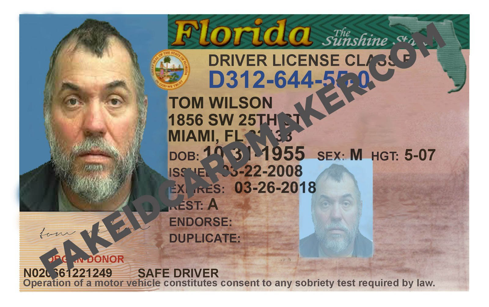 Florida Driver's License Fake Id Virtual  Fake Id Card Maker With Florida Id Card Template