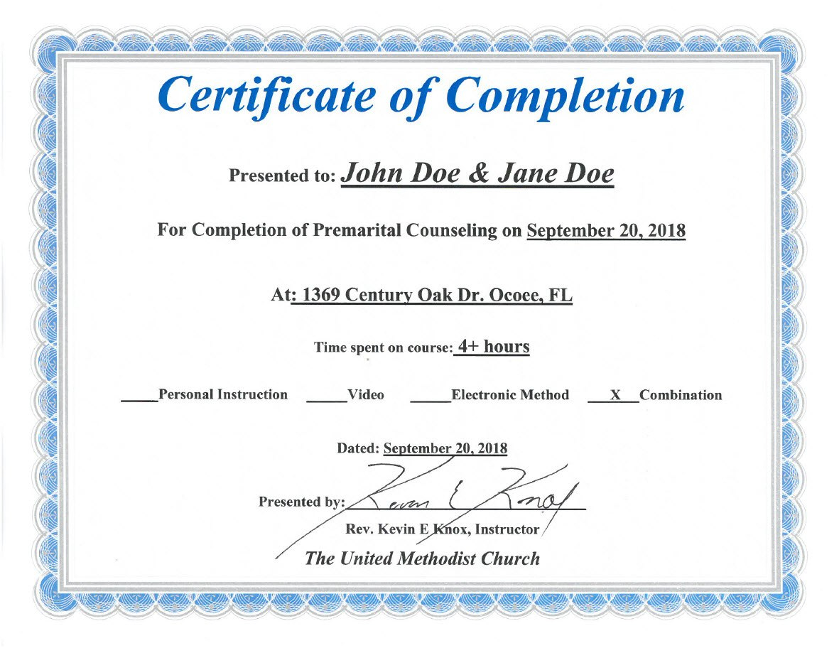 Florida Premarital Course Online Licensed Provider  Only In Premarital Counseling Certificate Of Completion Template