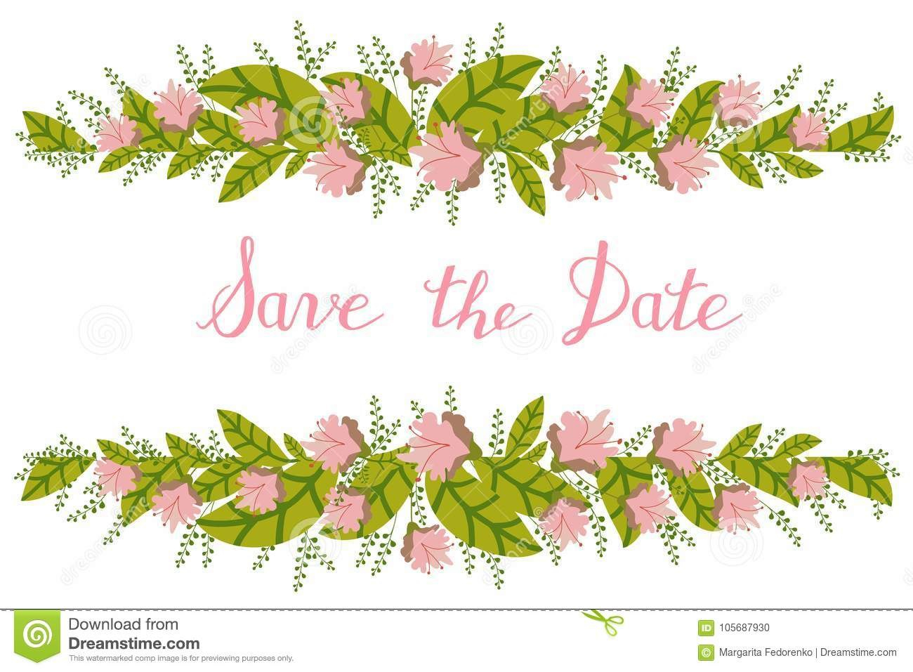 Flower Card Invitation Banner Template With Save The Date Title Pertaining To Save The Date Banner Template