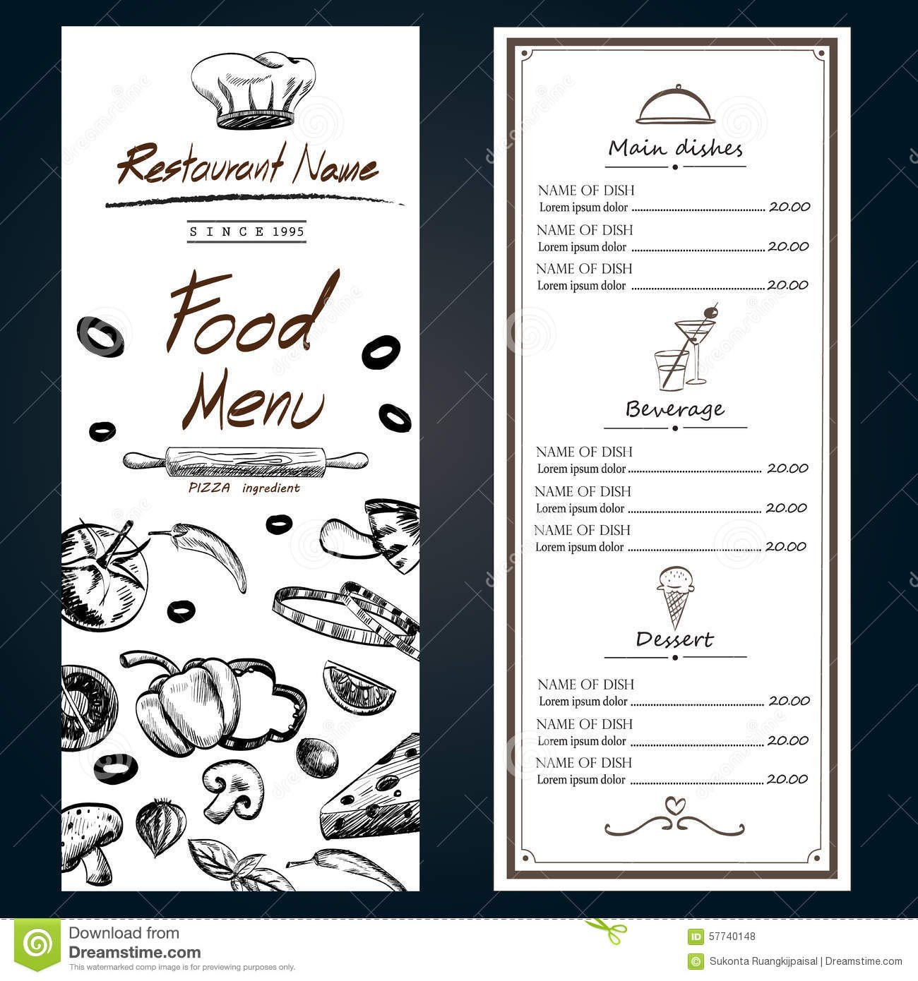 Food Menu Pizza Ingredients Fresh Template Backgroud Cover With Throughout Ingredient Label Template